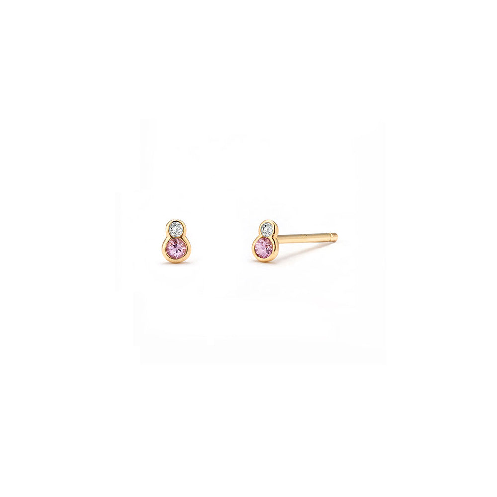 Pink Topaz Sapphire Stud Earrings - Edge of Ember Jewellery
