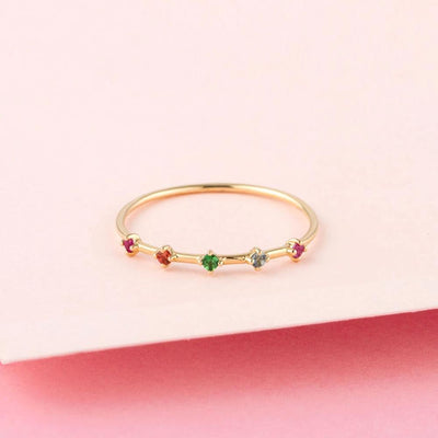 Rainbow Gemstone Ring - Edge of Ember Jewellery