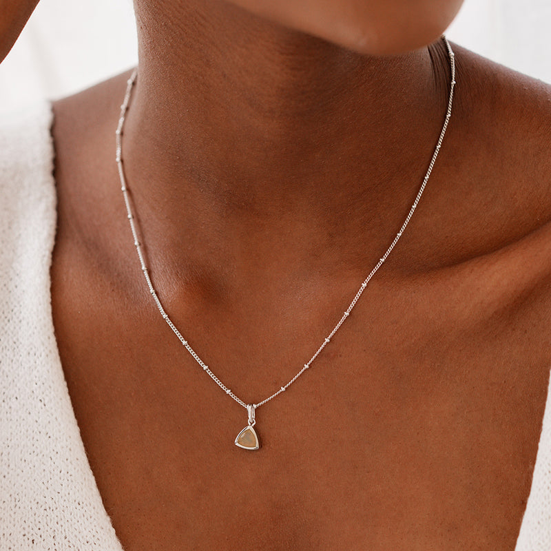 Opal Charm Necklace - Silver - Edge of Ember Jewellery