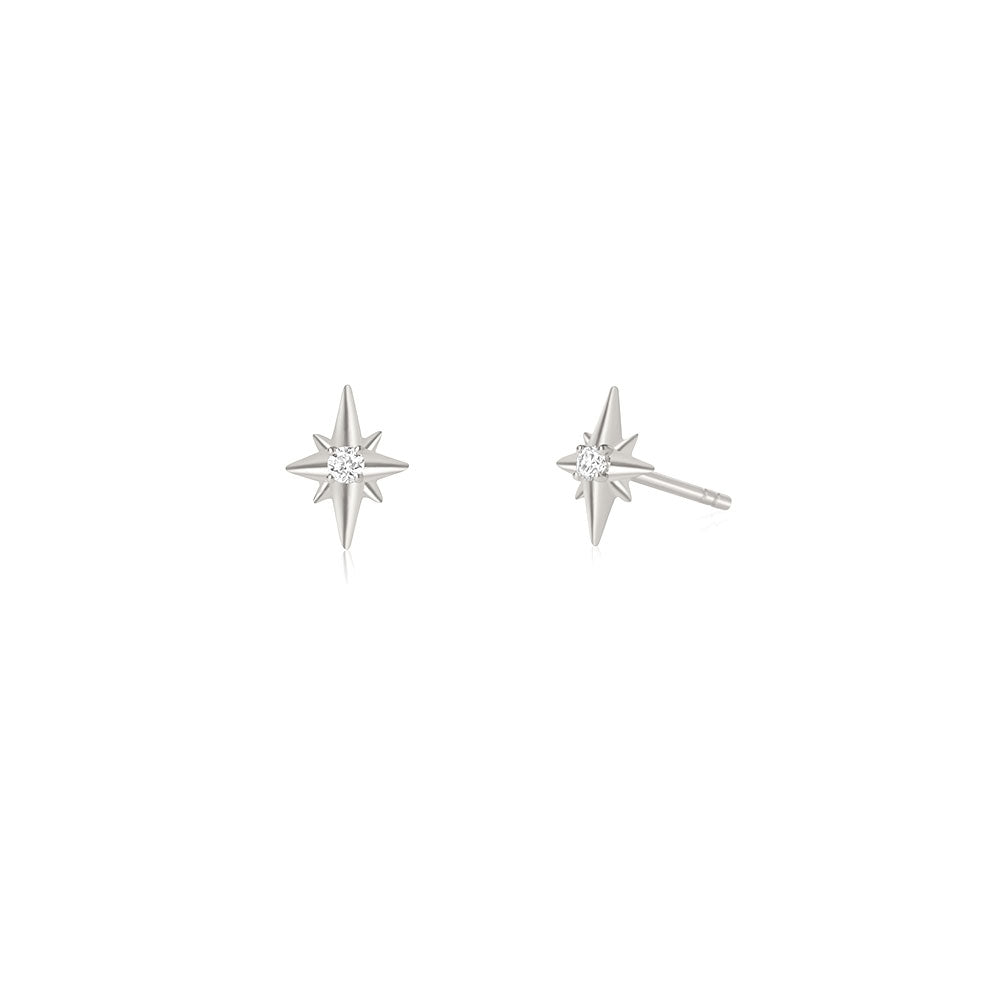 North Star Diamond Earrings - White Gold