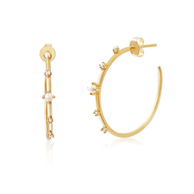 Sunset Pearl Hoops
