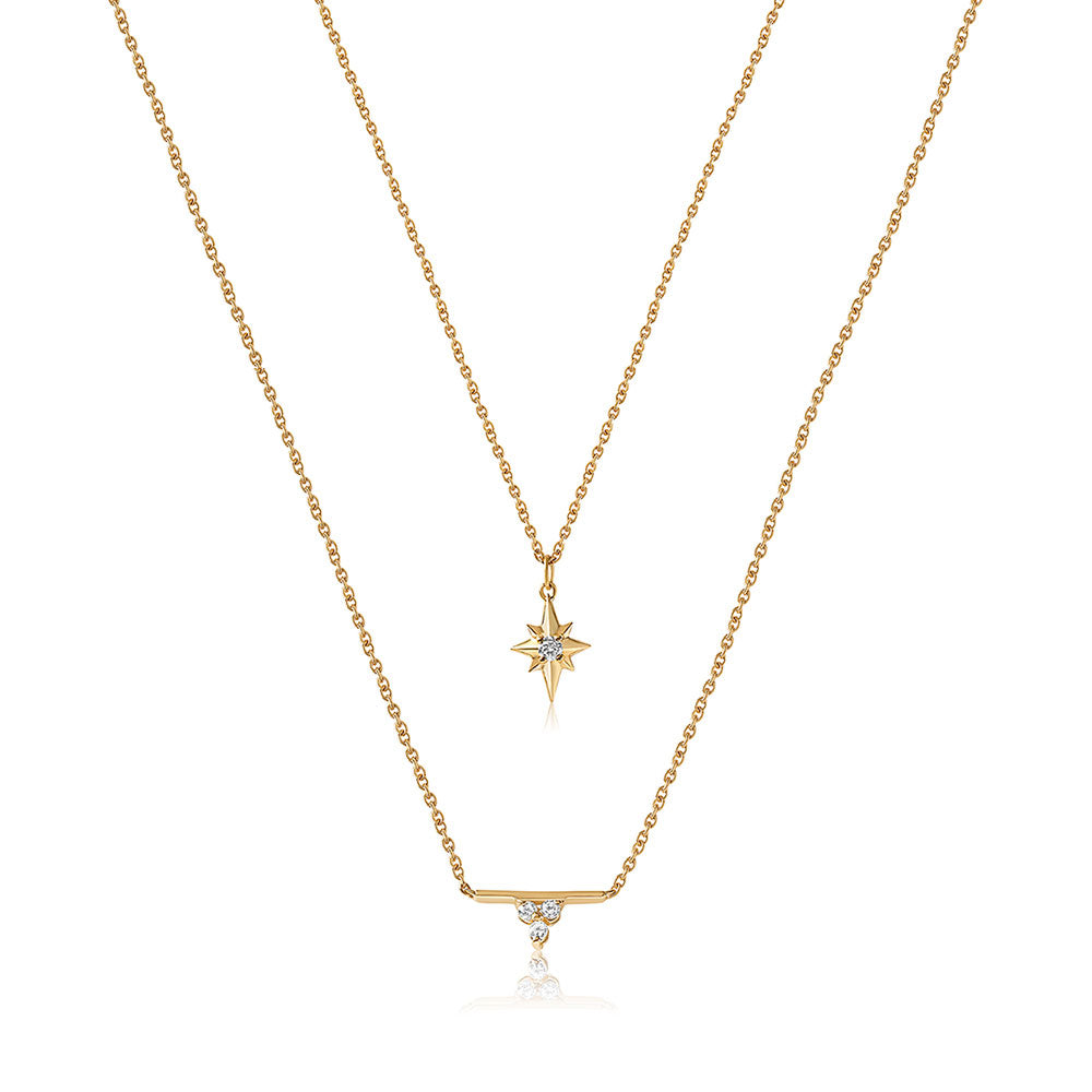 Dainty Diamond Necklace Set - Yellow Gold - Edge of Ember Jewellery