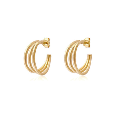 Trio Hoop Gold Earrings - Edge of Ember Jewellery