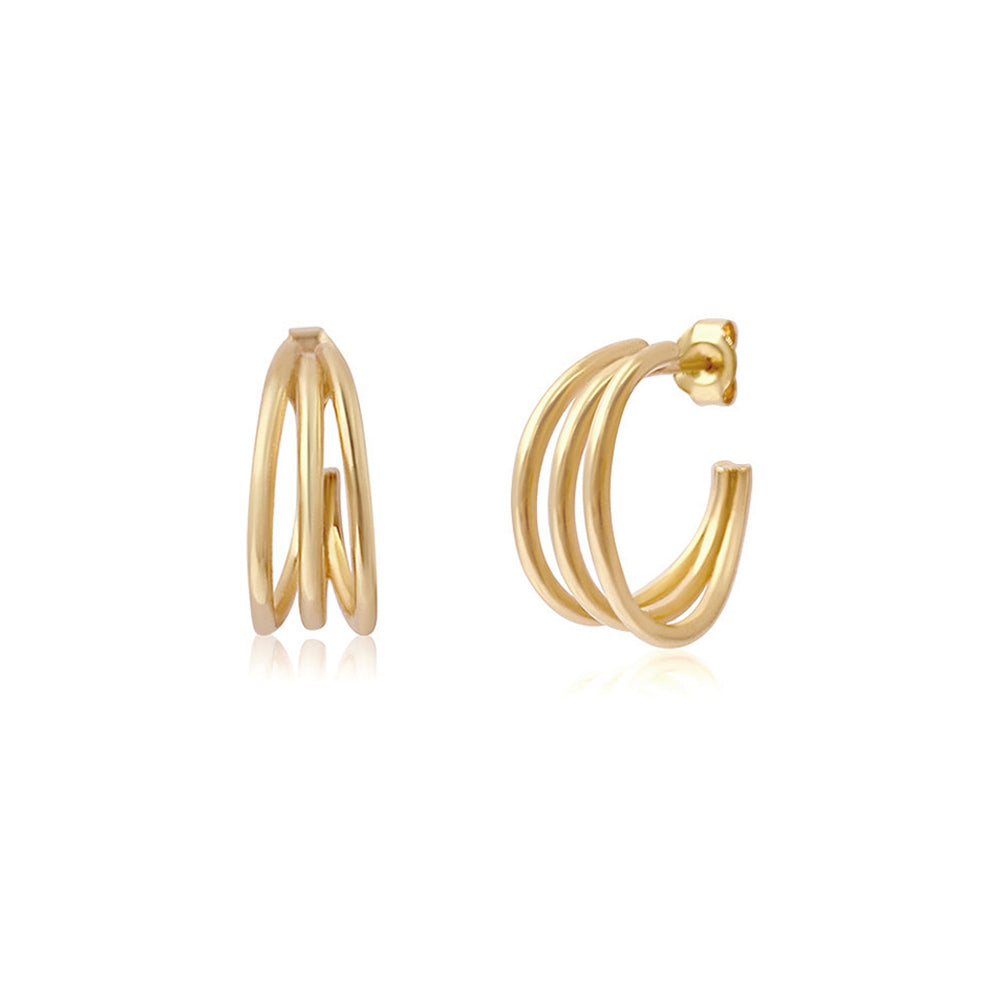 Trio Hoop Gold Earrings