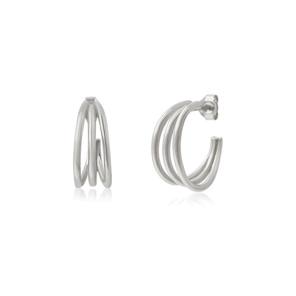 Trio Hoop Silver Earrings