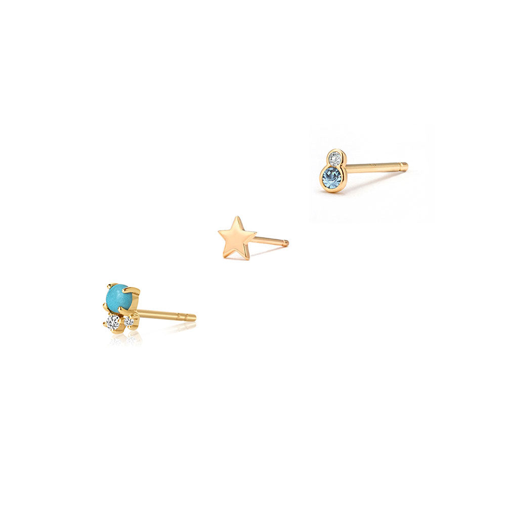 Turquoise & Topaz Earring Set - Edge of Ember Jewellery