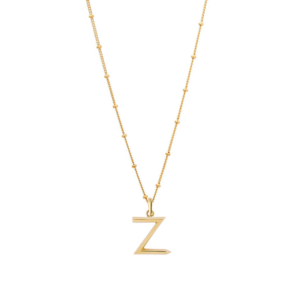 Z Initial Necklace - Gold - Edge of Ember Jewellery