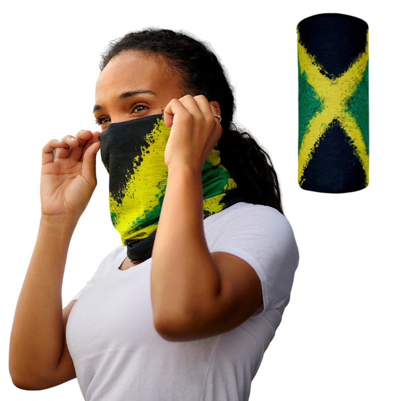 Represent the Jamaica with this breathable , washable, cultural, and fashionable Jamaica Neck Gaiter | Face Mask.