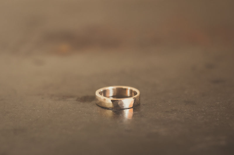 9k New Zealand Gold Hammered Ring - 5mm Wide
