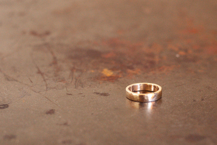 9k New Zealand Gold Hammered Ring - 6mm wide