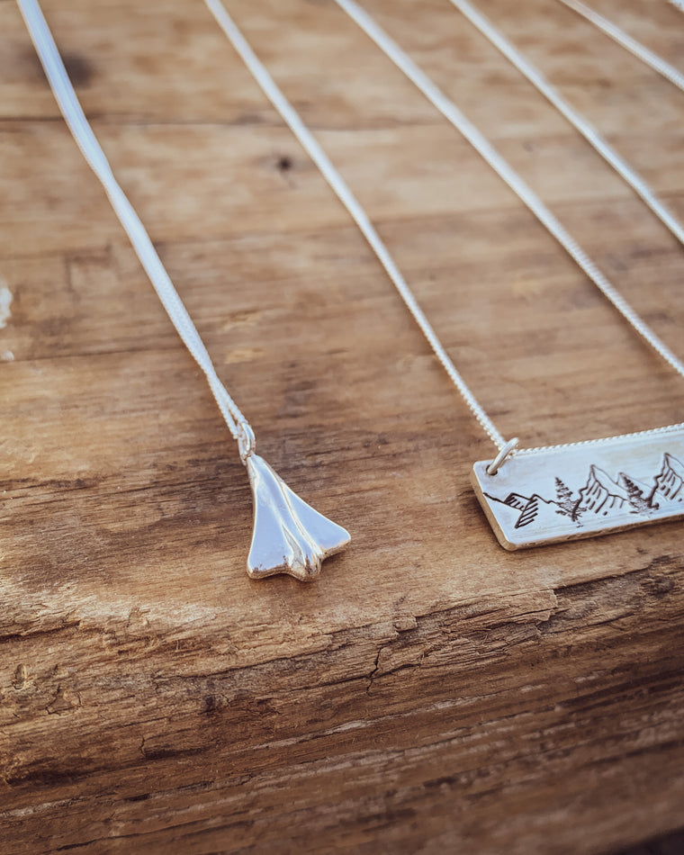 Sterling Silver Jet Plane Necklace