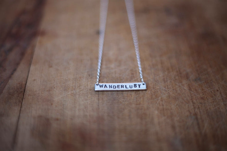 WANDERLUST Stamped Bar Necklace