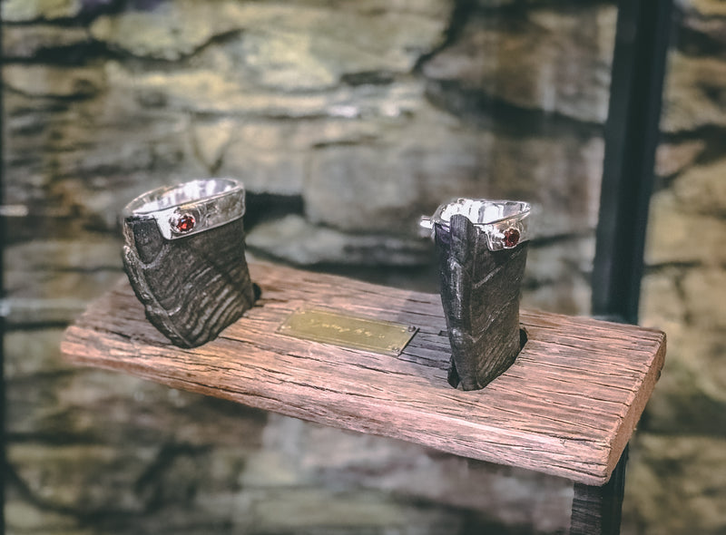 Handcrafted Sterling Silver and NZ Tahr Horn 'Dueling Cups'