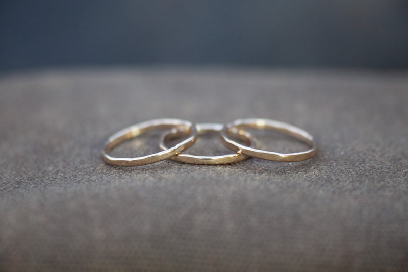 9k yellow gold stacking rings