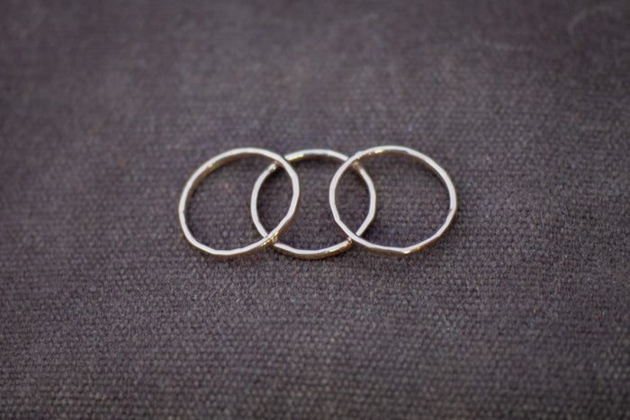 top view of yellow gold stacking rings