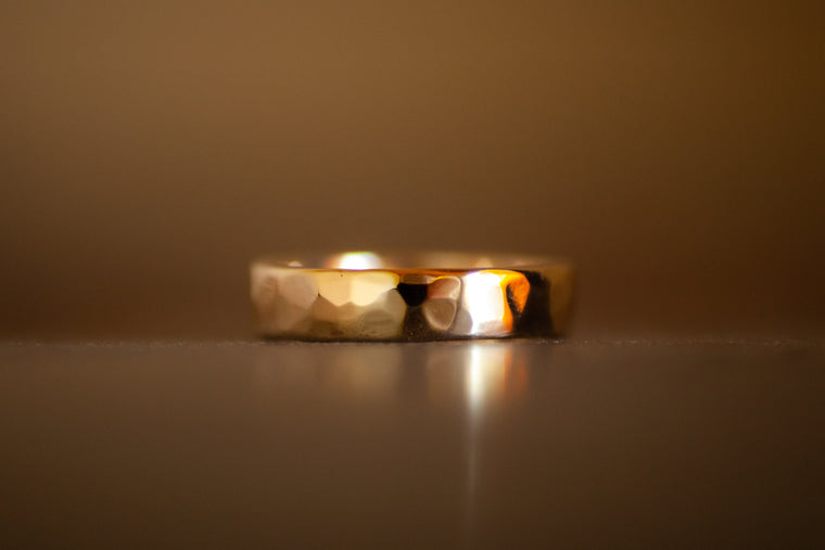 9k Yellow Gold Hammered Ring - 6mm