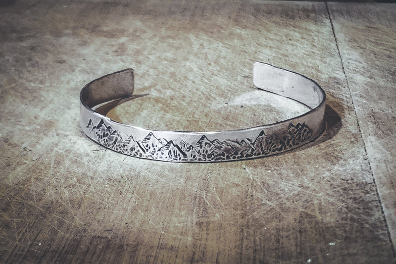 Sterling Silver Rustic Mountain Cuff