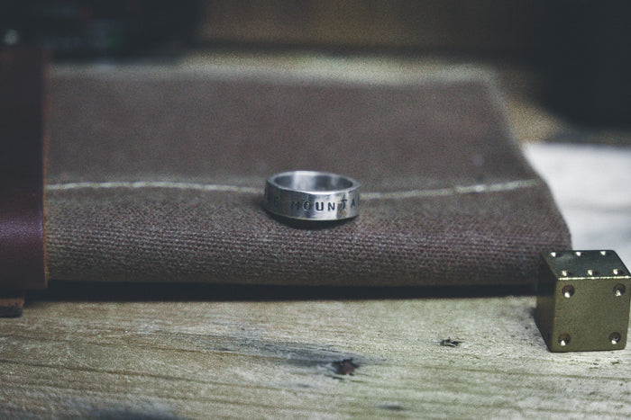 """The Mountains are Calling"" Quote Ring"