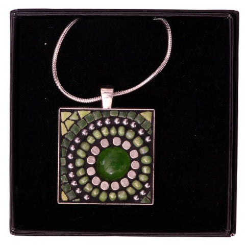 Baobab Tree Mosaic Green Necklace