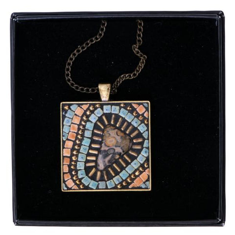 Baobab Tree Mosaic Stone Necklace