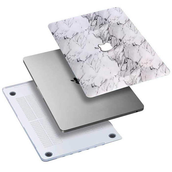 White classic marble cover til Macbook pro