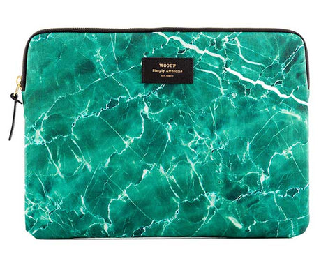 "WOOUF - GREEN MARBLE 13"" - LAPTOP SLEEVE"