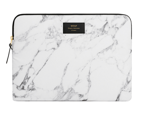 "WOUF - WHITE MARBLE 13""/15"" - LAPTOP SLEEVE"