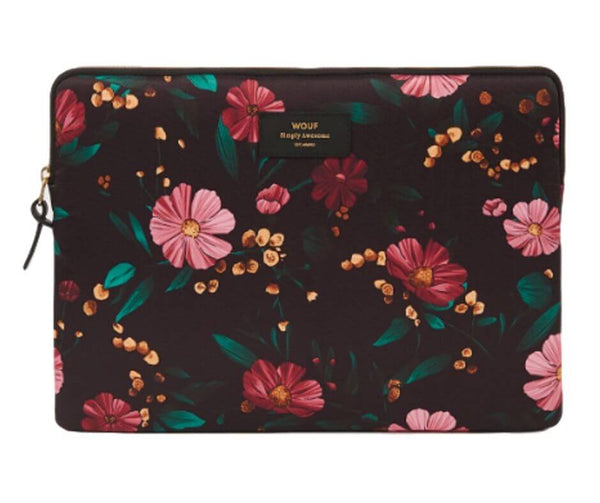 Black flowers laptop sleeve