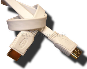 White Flat Ribbon HDMi Cable