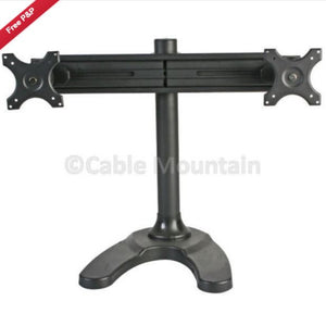 Twin Vertical Adjustable Monitor Desk Standing, Bolt Though or Screw Down Bracket in Black