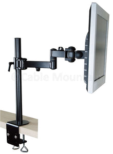 Vertical Black Cantilever Double Arm TFT Monitor LCD Desk Arm with Clamp