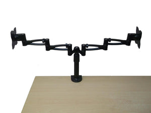 Twin Cantilever Arm Desk Clamp/Screw Down with Rotate, Tilt and Swivel in Black