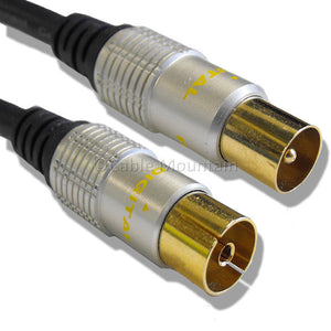 Metal Cased Gold TV Coaxial Cable : Male to Female