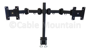 Twin Side by Side Vertical Monitor Desk Clamp - Black