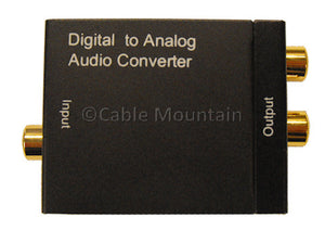 Cable Mountain Digital TOS or Coax to RCA Analogue Audio Converter D2A