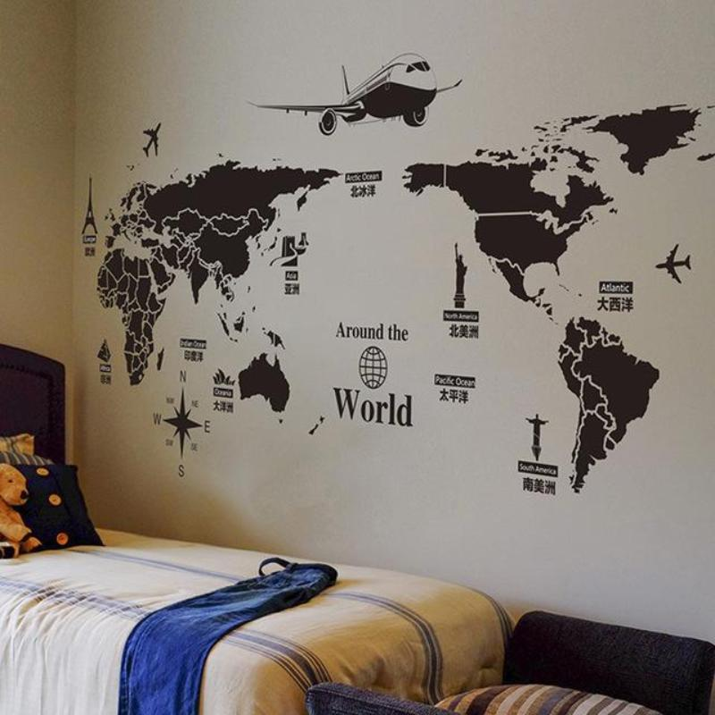 World map wall sticker travel view mural art our trip guide store gumiabroncs Images