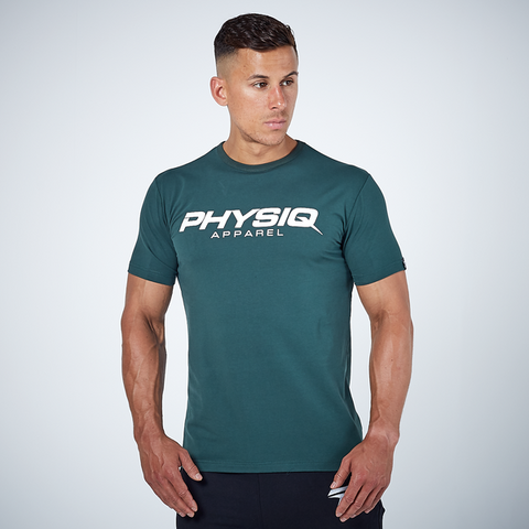 Physiq Apparel stretch fitted tee mens t-shirt alpine green short sleeve top Activemen Clothing