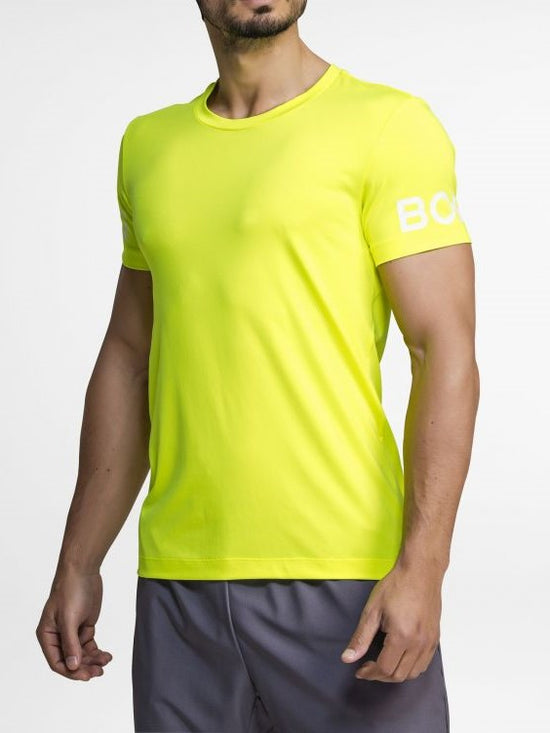BJORN BORG Workout Training Tee Men's Short Sleeve T-Shirt Yellow - Activemen Clothing