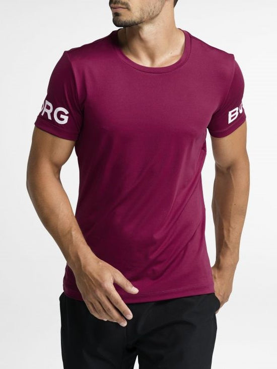 BJORN BORG Workout Training Tee Men's Short Sleeve T-Shirt Maroon - Activemen Clothing