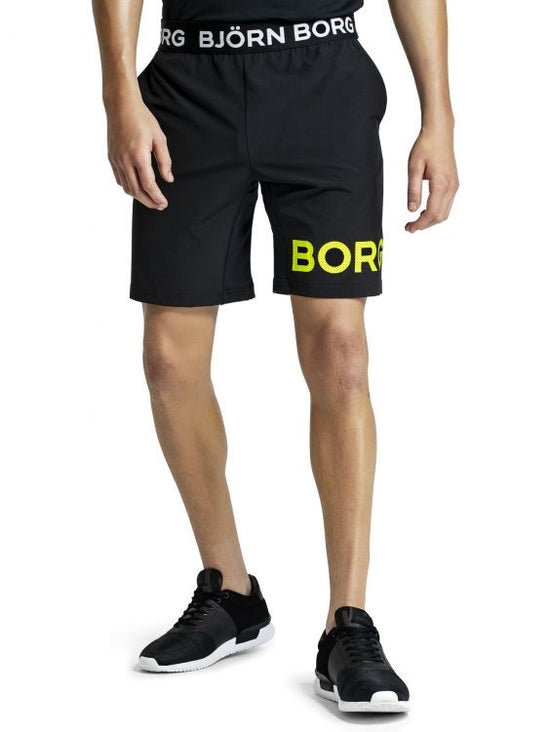 BJORN BORG August Training Workout Shorts Men's Long Gym Shorts Black / Yellow - Activemen Clothing