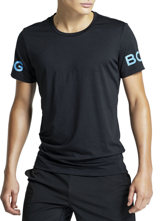 BJORN BORG Borg Workout Tee Men's Short Sleeve Training T-Shirt Black Blue - Activemen Clothing