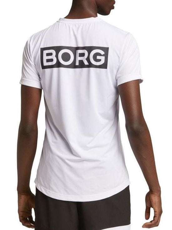 BJORN BORG Astor Mesh Workout Training Tee Men's Short Sleeve Top T-Shirt White - Activemen Clothing