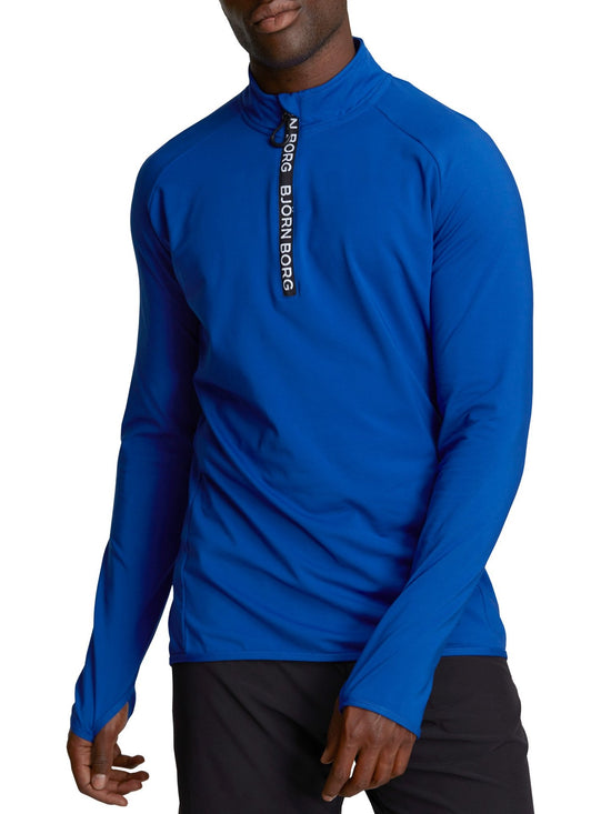 BJORN BORG Half Zip Polo Alve Men's Long Sleeve Training Top Blue - Activemen Clothing
