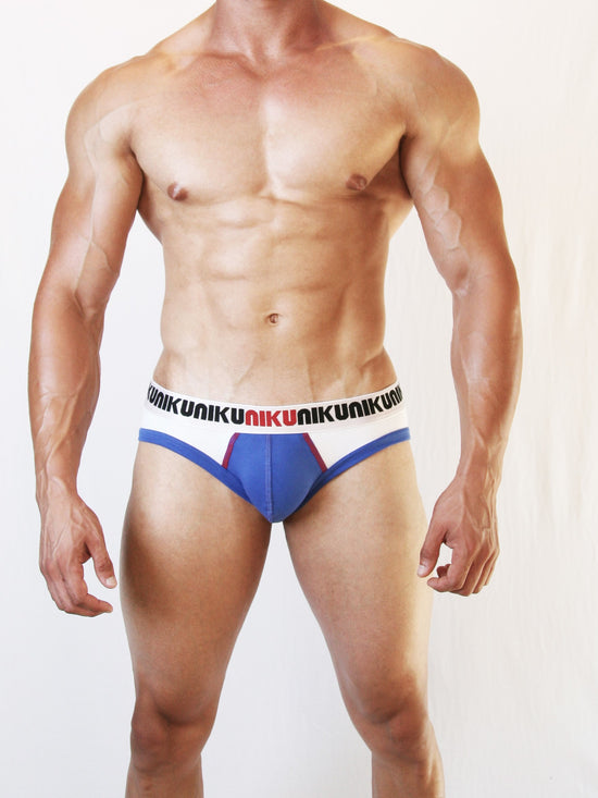 NIKU Two Tone Briefs Men's Underwear Blue, White and Red - Activemen Clothing