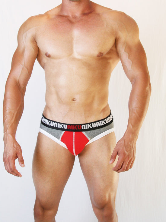 NIKU Two Tone Briefs Men's Underwear Red and Grey - Activemen Clothing