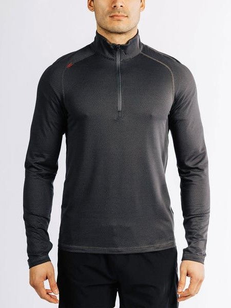 RHONE Sequoia Air Pull Over Long Sleeve Top Black - Activemen Clothing