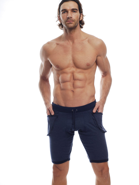 GO SOFTWEAR Vintage Wash Yoga Shorts For Men Navy - Activemen Clothing