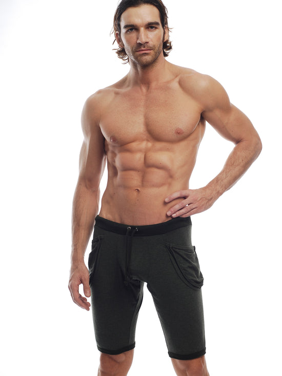 GO SOFTWEAR Vintage Wash Yoga Shorts For Men Black - Activemen Clothing