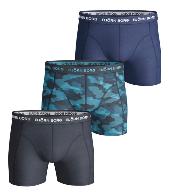 BJORN BORG Multipack of 3 Boxer Shorts Men's Underwear Blue Navy and Blue Camouflage - Activemen Clothing