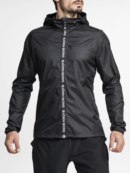 BJORN BORG Aimo Hooded Wind Jacket Men's Performance Zipped Long Sleeve Top Black - Activemen Clothing